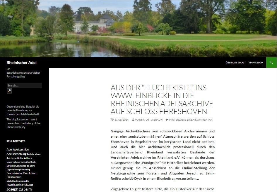 Screenshot Blog Rheinischer Adel